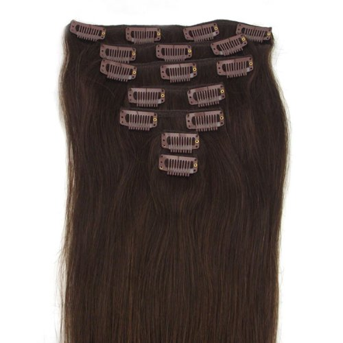 15 Inch 7 Pcs 70g 100% Straight Remy Clip in Real Human Hair Extension 2#dark brown