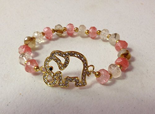 (Elephant Stretch Bracelet with Faceted Cherry Quartz Gemstone beads, 7