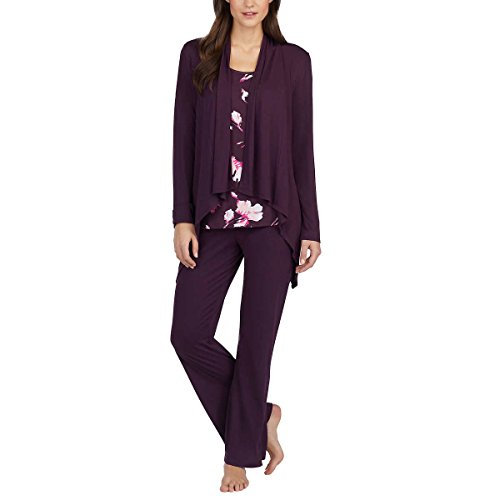 Carole Hochman Midnight Ladies' 3-Piece Pajama Set (Purple, Small) (Carole Cardigan Hochman)