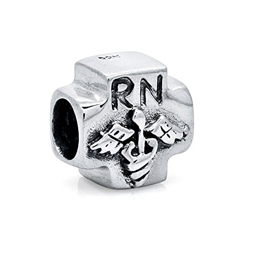 Medical Symbol Sterling Silver Charm (Everbling RN Registered Nurse Medical Symbol 925 Sterling Silver Bead Fits European Charm Bracelet)