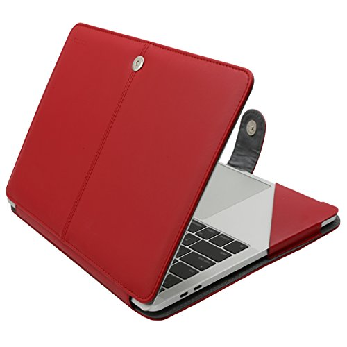 MOSISO PU Leather Case Compatible MacBook Pro 15 Inch 2019 2018 2017 2016 Released A1990 A1707 with Touch Bar, Book Folio Protective Cover Stand Sleeve with Clear Corner Strip, Red