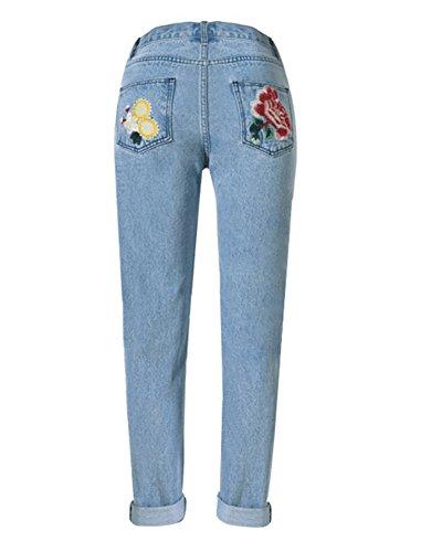 Distressed Straight Style Femmes Bleu Broderie SaiDeng Jeans Vrac Imprim En Motif xY60Ywq84