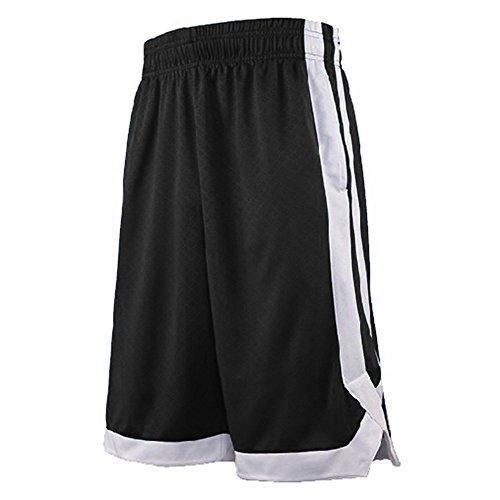 (TOPTIE 2-Tone Basketball Shorts for Men with Pockets, Pocket Training Shorts-Black-M)
