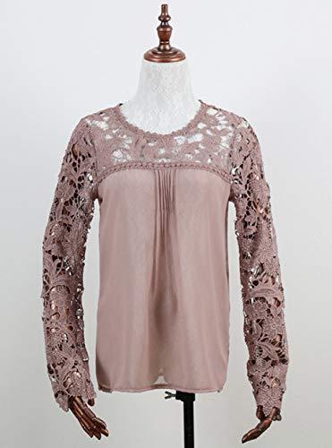 Dentelle Printemps Rond Manches Tops Casual T Rose Longues New Mode et Blouses Chemisiers Sweat Shirts Shirt Femmes Hauts Automne pissure Creux Col 4CCfqZw