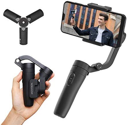 FeiyuTech Vlog Pocket Handheld Phone Gimbal Smartphone Stabilizer Foldable for iPhone 11 X Xs XR 8 7 Plus 6, Xiao Mi Samsung Huawei Android Smartphones (Balck)