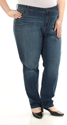 Style & Co. Womens Plus Whisker Wash Classic Fit Skinny Jeans Blue 24W Straight Leg Striped Jeans