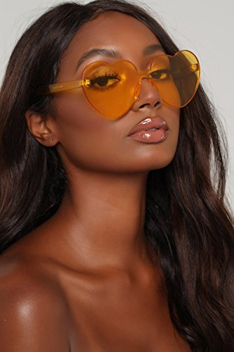 Love Heart Shape Sunglasses Women Rimless Frame Colorful SunGlasses by ADEWU (Image #5)