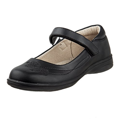 Laura Ashley Girls Hook and Loop School Uniform Shoes, Black Stitching, 6 M US Toddler' -