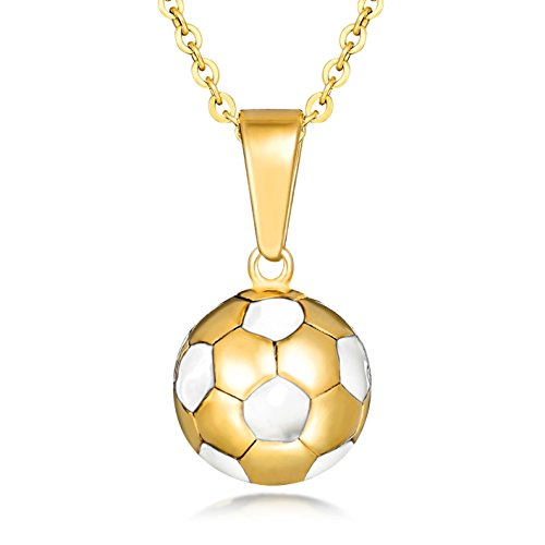 Lazycat Stainless Steel Men and boys Gold Plated Soccer Ball Pendant Football Necklace (White)