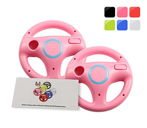 GH 2Pcs Wii(U) \ Wii Wheel for Mario Kart 8 and Other Nintendo Remote Steering Games , Wii Steering Wheel - Peach Pink (6 Colors Available)