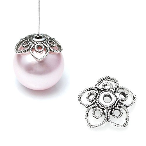 2 pcs Bali 925 Sterling Silver 11mm Filigree Spring Flower Pearl Bead Cap (Sterling Silver Pearl Bead)