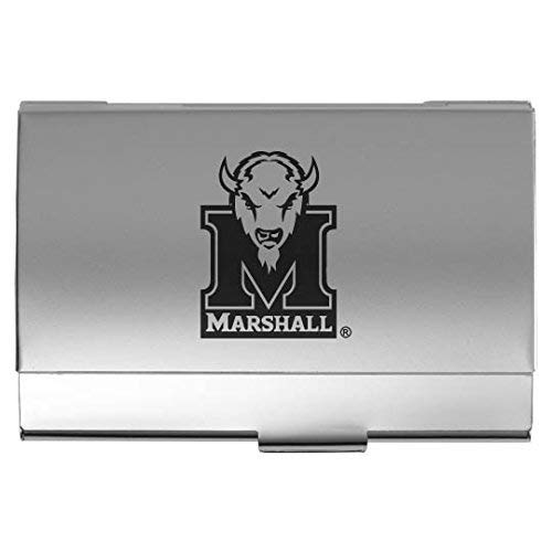 (Marshall University - Two-Tone Business Card Holder - Silver)