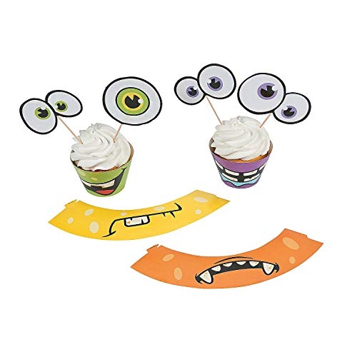 Fun Express Cardboard Monster Cupcake Wrappers with Picks | 50 Wrappers, 50 Picks | Great for Themed Birthday and Halloween Party]()