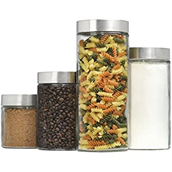 4 Piece Callista Glass Canister Set With Stainless Steel Lids