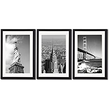 New York City NYC Skyline Skyscraper Canvas Print Wall Art Decor Framed  Posters 3 Piece Black