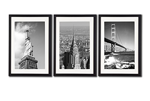 New York City NYC Skyline Skyscraper Canvas Print Wall Art Decor Framed Posters 3 Piece Black And White City Landmark Architecture Paintings Golden Gate Bridge Statue Of Liberty Building - Framed Architecture