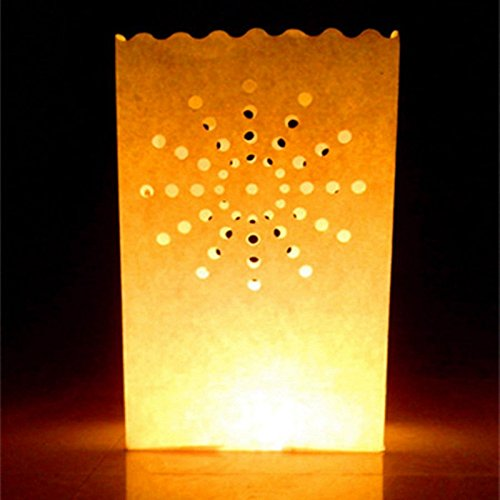 - ETbotu Party Decor Luminary Paper Lantern Candle Bag Flame Retardant Resistant Paper Bag Sun for Party Wedding 10pcs/Set