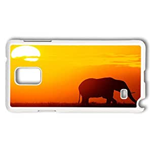 Rugged Samsung Galaxy Note 4 Case, Elephant At Sunset Hardshell Case Cover for Samsung Galaxy Note 4 N9100 White Plastic Case