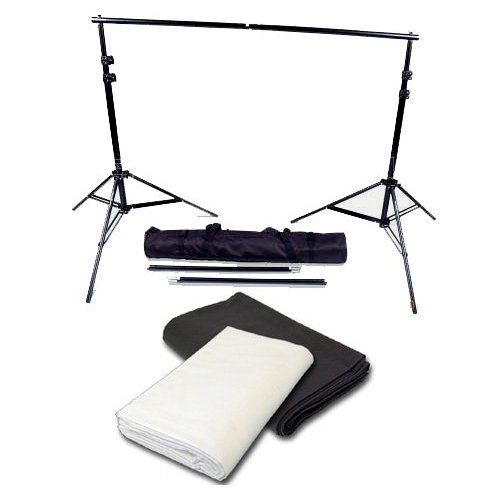 CowboyStudio Photography 10ft X 20ft Black & White Muslin Backdrops with 10ft Heavy Duty Crossbar Support System and Carry Bag by CowboyStudio