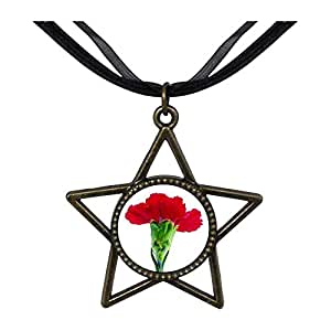Chicforest Bronze Retro Style Carnation For Mom Five Pointed Star Pendant