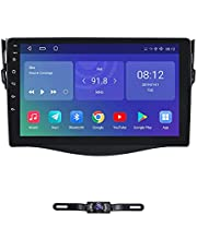 hizpo Android 10 Rear view Backup Reversing Camera Included Toyota RAV4 2006 2007 2008 2009 2010 2011 2012 In Dash Double 2 Din Radio Touch Screen GPS DVD Navigation Bluetooth Hands free Steering Wheel Control