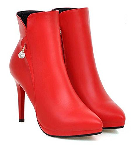 Chfso Kvinners Elegant Stiletto Solid Rhinestone Spisse Høy Hæl Ankel Boots Red