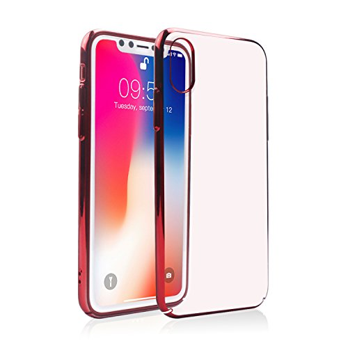 iPhone X Soft TPU Slim Case, Transparent Crystal Clear Fit Flexible Cover with Electroplate Frame (Red) Fits Frames