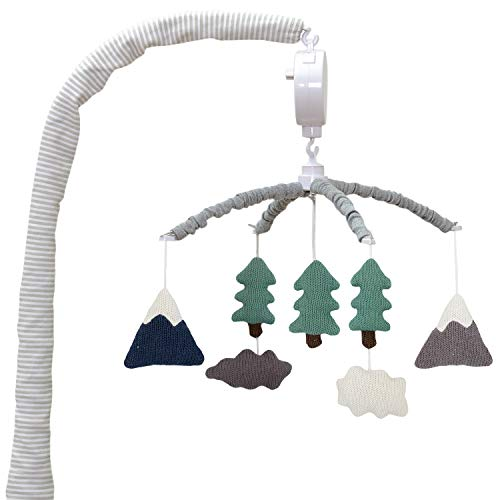 Living Textiles Baby Musical Mobile – Peaks | Crib Toy, Knitted Hanging Toys, Nursery Decor, Calming Soother with 12 Lullabies | Baby Essential and Perfect Baby Toy for Boys and Girls
