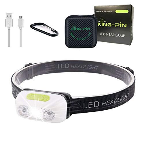 King-Pin Hoofdlamp, USB-oplaadbaar, waterdicht, lichtgewicht, 7 lichtmodi, perfect voor hardlopen, joggen, kamperen…