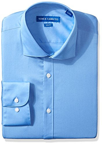 Vince Camuto Men's Slim Fit Dress Shirt, French Blue Sateen, 15.5