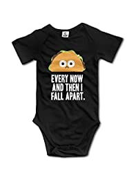 Unisex Every Now And Then I Fall Apart Taco Baby Onesies Short Sleeve