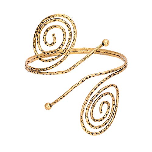 SENFAI 10K Gold Plated Double Swirl Upper Arm Cuff Armlet Armband Bangle Bracelet for Womens (Antique Gold)