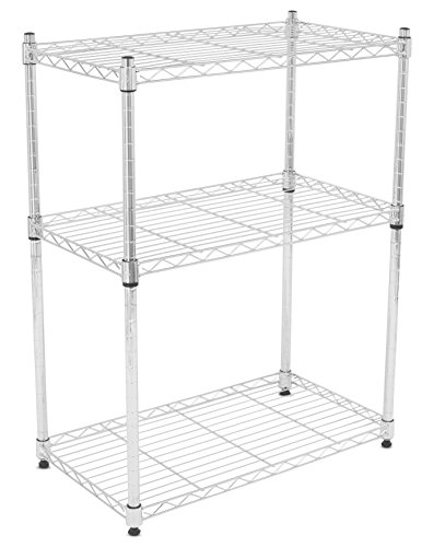 er Wire Shelving | Chrome | Heavy Duty Shelf | Adjustable Rack Unit | Kitchen Storage (Three Adjustable Steel Shelves)