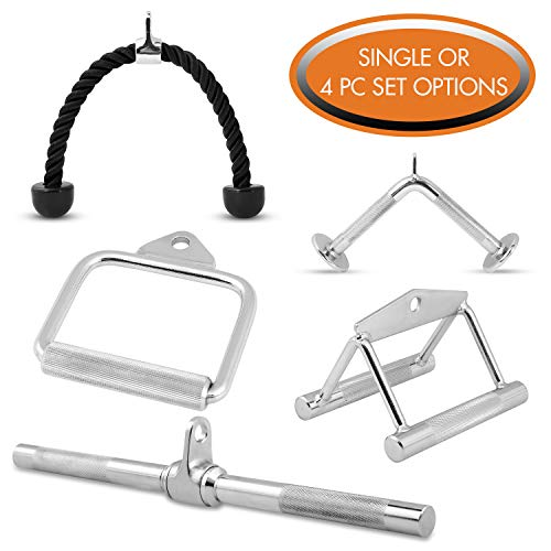 Day 1 Fitness Double-D Row Handle, Stainless Steel with Fully Knurled Grip, for Cable Attachment - Heavy-Duty Weight Lifting Handles for Conditioning Shoulders, Abs, Upper Back - Cable Gym Equipment (Fitness Equipment Attachments)