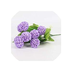 Artificial Flowers 1Pcs 9 Heads Romantic Lavender Ball Pincushion Silk Flower Bouquet Home Hotel Decorations for Wedding,Light Purple 78