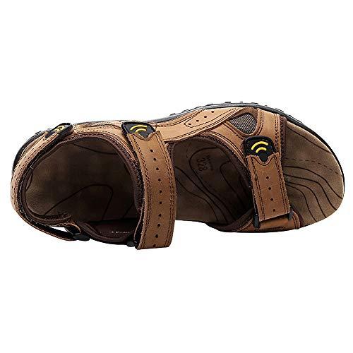 Uomo Vera con l'esterno cinturino in pelle per Scarpe ginnastica estive leggeri marrone da Sandali velcro Jamron dRqn1d