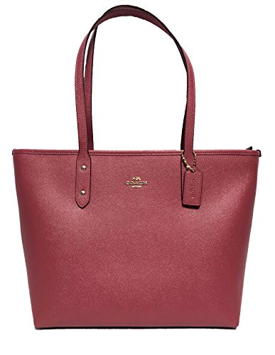 Coach City Crossgrain Leather Tote (IM/Rouge) (Tote Handbags Red)