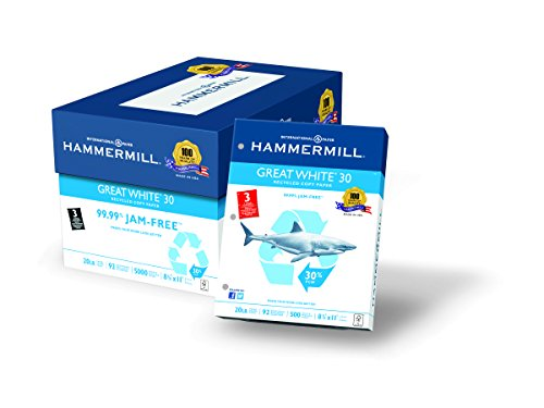 Hammermill Paper, Great White 30% Recycled, 20lb, 8.5 x 11,
