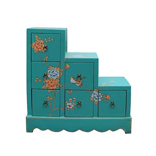 Oriental Turquoise Aqua Color Small Step Tansu Cabinet Acs5011 (Cabinet Tansu Step)