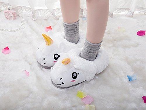 Aiigou Adulto Cálido Felpa Unicornio Zapatillas De Dibujos Animados Lindos Zapatos De Interior Blanco