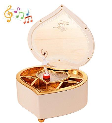 Amperer Ballerina Musical Box Heart Shaped Jewelry Music Box with Rotating Dancer Ballerina Fairy Girl, Best Birthday Christmas Gift (1# White) (Ballerina Box Musical)