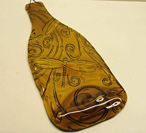 Dragonfly Embossed Yellow Wine Bottle Melted Flat UpCycled as Cheese Platter Serving Tray