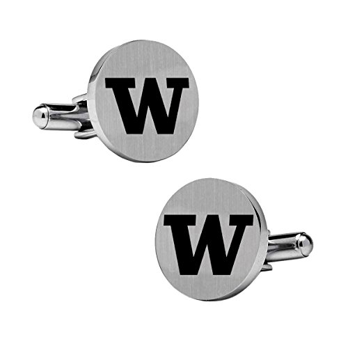 (Washington Huskies Cufflinks Stainless Steel 18mm Round with Bullet Back and Brushed Surface. Collegiate Cufflinks. Top is Approximately the Size of a Dime. )