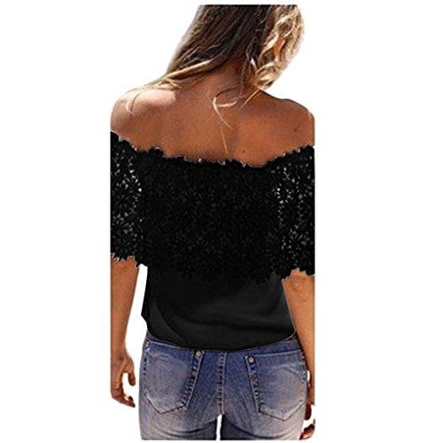 Bow Top Panel - Kimani Women Shirt Sexy Off Shoulder Casual Loose See Through Lace Mesh Sheer Short Sleeve Crop Tee Tops T-Shirt Blouse Crochet Chiffon (S, Black)