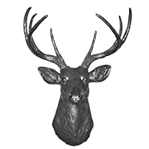 8 Point Deer Head Removable Antlers | Faux Taxidermy | 8 Point Resin Deer Head with Removable Antlers | Faux Taxidermy Studio (Silver)