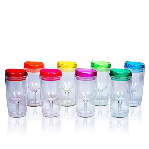 8 Insulated Wine Tumblers With Lids, Acrylic Stemless Wine G