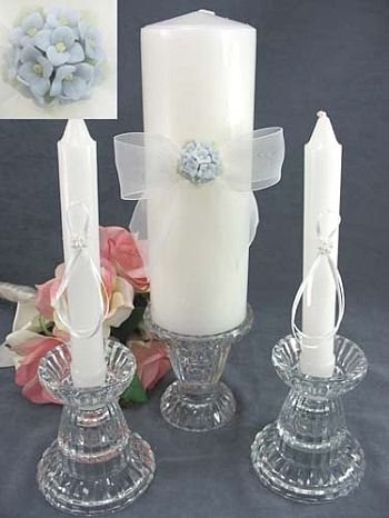 Hydrangea Bouquet Wedding Unity Candle Set: Candle Color: Ivory