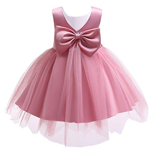 Pink Polka Dot Wastebasket - Swiusd 0-7T Toddler Child Baby Girls Church Wedding Party Dresses Sleeveless Floral Embroidered Tulle Prom Dresses (Hot Pink, 6-7 Years)