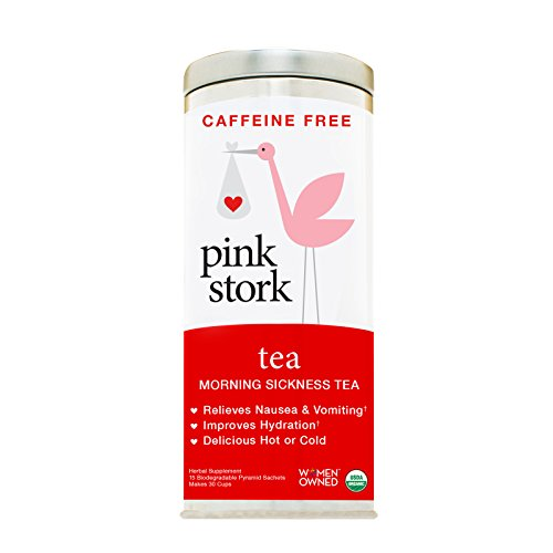 Pink Stork Morning Sickness Tea: Ginger-Peach, USDA Organic Loose Leaf Herbs in Biodegradable Sachets, Morning Sickness, Nausea, Cramps, Indigestion Relief -30 cups, Caffeine-Free