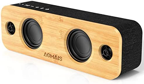 AOMAIS Life Bluetooth Speaker, 30W Loud Dwelling Occasion Wi-fi Bluetooth Audio system, 2 Woofers & 2 Tweeters for Tremendous Bass Stereo,TWS and 100Ft Bluetooth V5.0,12-Hour Playtime Subwoofer, Imitation Bamboo